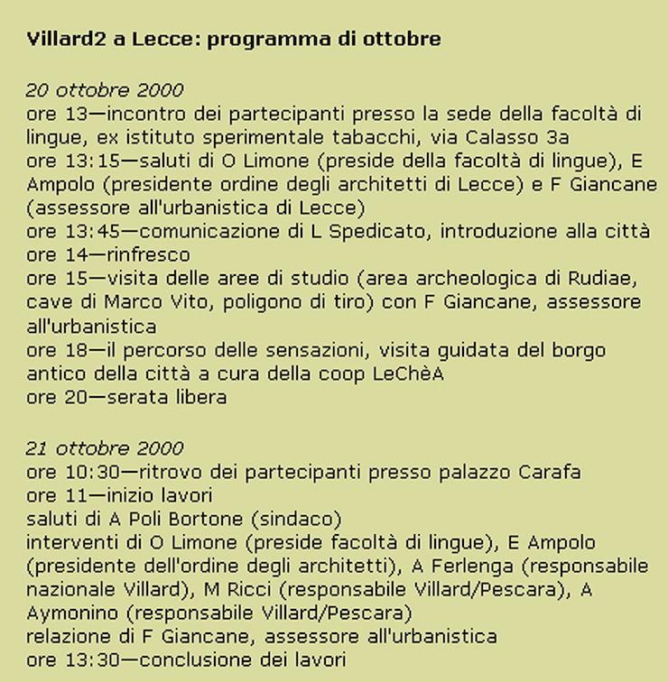 villard-2-lecce-2000-programma