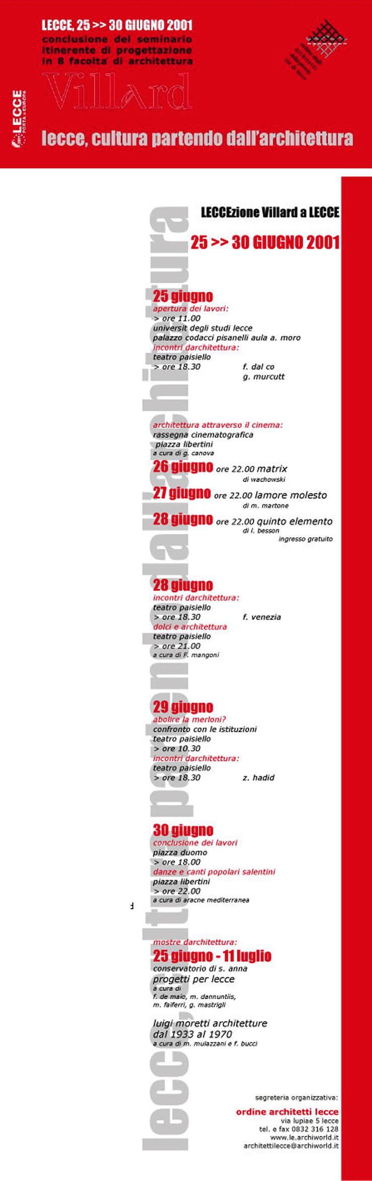 villard-2-lecce-2001-programma